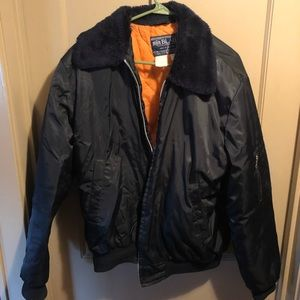 Vintage black and orange aviator jacket
